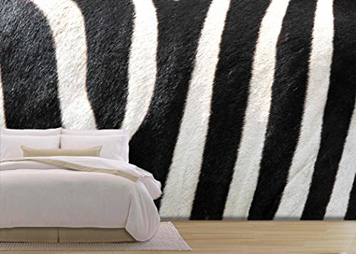 wall26 - Striped Zebra Close Up Image - Removable Wall Mural | Self-adhesive Large Wallpaper - 66x96 (Zebra Stripes Wallpaper)