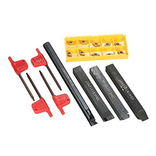 (KKmoon 4pcs S12M-SCLCR06/SDNCN1212H07/SDJCL1212H07/SDJCR1212H07 Boring Bars + 10pcs/box DCMT0702 Carbide Inserts + 4pcs Wrench Lathe CNC Turning Tools)