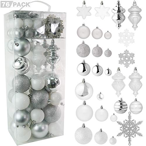 RN'D Christmas Snowflake Ball Ornaments - Christmas Hanging Snowflake and Ball Ornament Assortment Set with Hooks - 76 Ornaments and Hooks (White & Silver) (Christmas Tree Big For Ornaments)