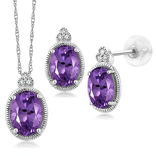 Amethyst Gold Jewelry Set - 1.51 Ct Oval Purple Amethyst and Diamond 10K White Gold Pendant Earrings Set