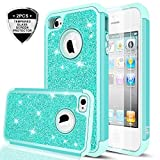 iPhone 4S Case,iPhone 4 Glitter Case with Tempered Glass Screen Protector [2 Pack],LeYi Girls Women [PC Silicone Leather] Dual Layer Heavy Duty Protective Phone Case for iPhone 4 / 4S / 4G TP Mint