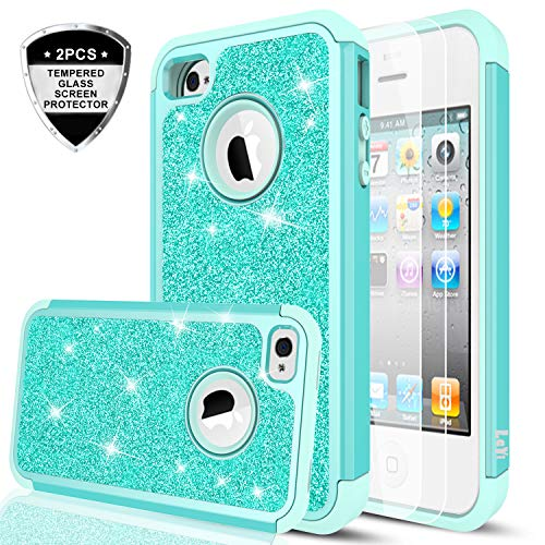 e 4 Glitter Case with Tempered Glass Screen Protector [2 Pack],LeYi Girls Women [PC Silicone Leather] Dual Layer Heavy Duty Protective Phone Case for iPhone 4 / 4S / 4G TP Mint ()