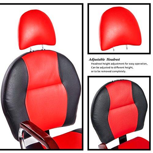 Merax Reclining Hydraulic Barber Chair Styling Salon Beauty Shampoo Spa Equipment (Black&Red) by Merax (Image #2)
