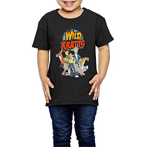 Geneva F Wild Kratts Kid's T-Shirts for Girls & Boys Black 4 Toddler ()
