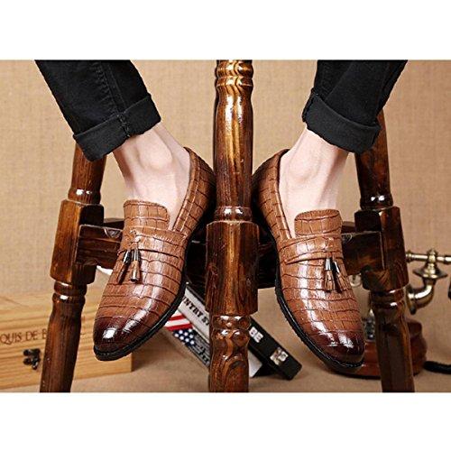 Pinuo 2016 Zapatos De Moda De Ocio Diario Zapatos De Cuero De Tendencia Británico De Encaje Respirable Marrón Claro