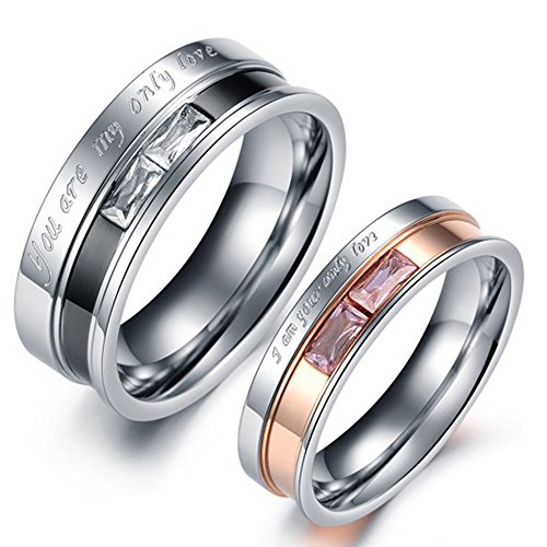 Men Womens Stainless Steel Engrave Only Love Couples Ring Engagement Promise Silver Band Crystal Inlay