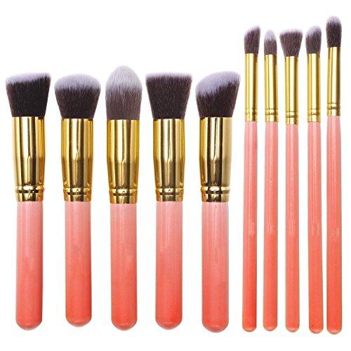 Ammiy® 10 Stück Make up Bürsten Kabuki Kosmetikpinsel Set Werkzeug Zubehör Kit Foundation Concealer Augenbrauen Schatten Kit (Rosa + Gold )