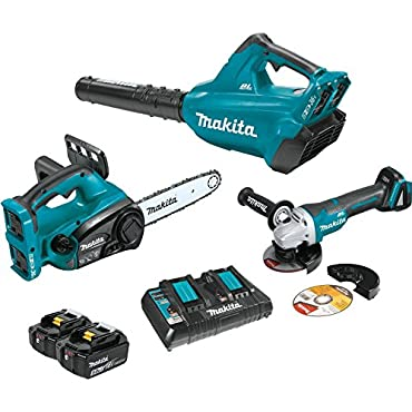 Makita XT274PTX 18V X2 LXT (36V) Blower & Chain Saw Combo  with Brushless Angle Grinder