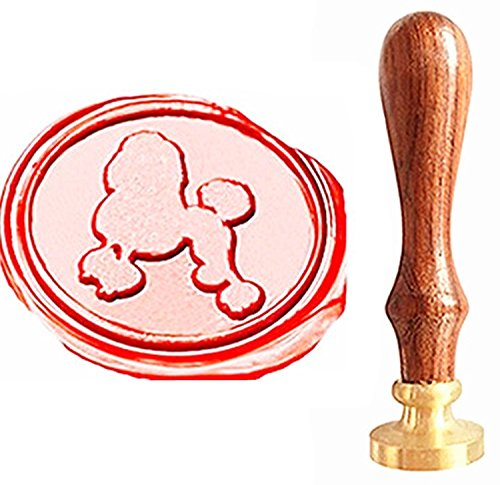 MNYR Vintage Lovely Poodle Animal Pet Gift Card Sealing Art Wax Seal Stamp Rosewood Handle Decorative Wedding Invitation Gift Card Stationary Envelope Custom Logo Picture Wax Seal Sealing Stamp Set