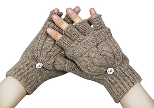 Convertible Flip Gloves Mittens (Women Ladies Girls Winter Chunky Wool Crochet Convertible Gloves Warm Half Finger Mittens Stretchy Thermal Cable Knitted Flip Top Fingerless Texting Gloves with Mitten Cover Hand Warmer Christmas)