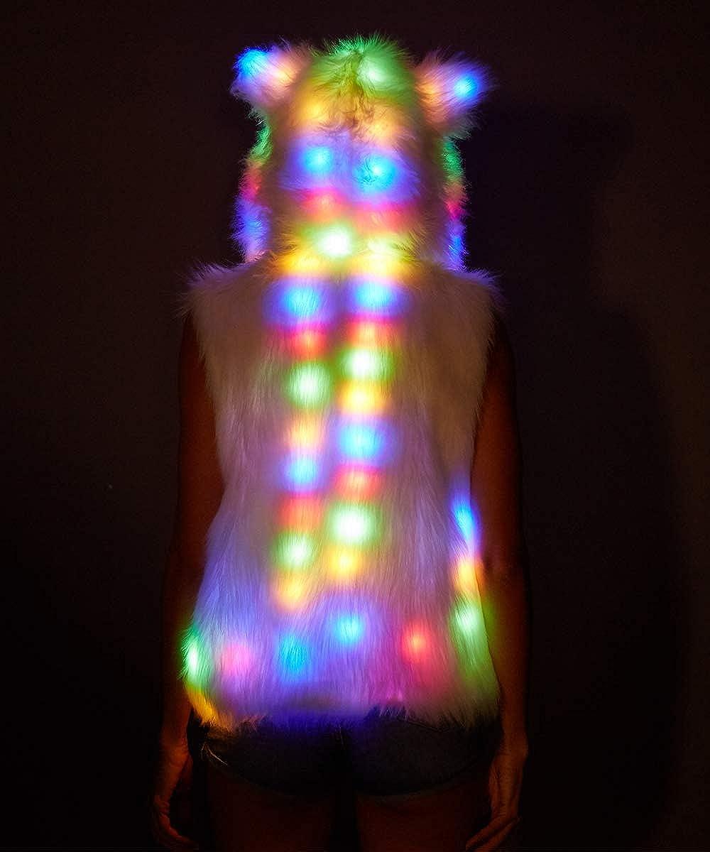 Womens Faux Fur Led Jacket Light Up Rave Vest Halloween Xmas Party Fancy Dress