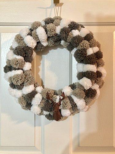 Yarn Wreath (Gray and White Glitter Deer Head Yarn Pom Pom Elk Winter Wreath)