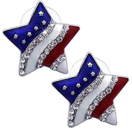 Crystal Patriotic Star - 4th of July USA American Flag Patriotic Red Blue Star Earrings Jewelry (Star Stud Silver-tone 3/4