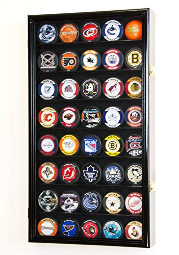 40 Hockey Puck Display Case Cabinet Holder Rack 98% UV (Black Finish) ()