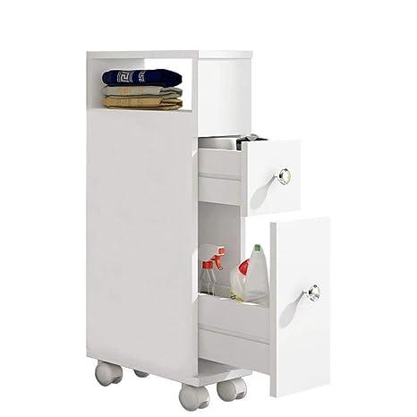 EASE Mueble de baño con ruedas con 2 cajones Carro de almacenamiento de cocina de madera Mueble de baño 15 × 33 × 65 CM Blanco