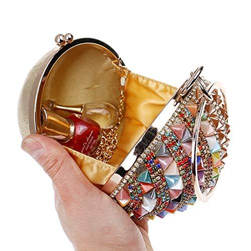 Cuentas de Bolso Nupcial Redondo Cristal Diamante Boda Rhinestone del Color Las Mujeres Multicolor la con Partido del Embrague de del YY1 Bolso de Noche del de Bolso Diamante de x7Oq81B