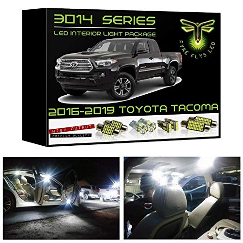 Fyre Flys 9 Piece White LED Interior Lights for 2016-2019 Toyota Tacoma Super Bright 6000K 3014 Series SMD Package Map Dome Vanity Mirror License Plate Light Bulb Kit and Install Tool ()