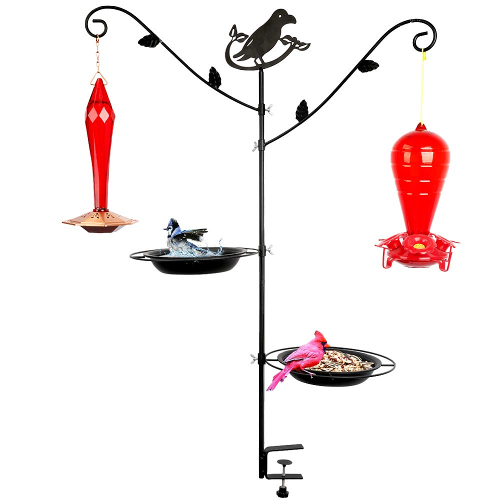 #G-B135A00-US Urban Apartment Deck Rail Bird Feeder Pole, 2 Hangers & 2 Type Seed Feeder Tray Combination Kits, Not Blowing Away (Hummingbird Feeder not Included)