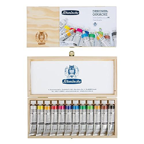 Schmincke HKS Designers Gouache (Opaque Watercolor) Paint Set in Gift Wood Box