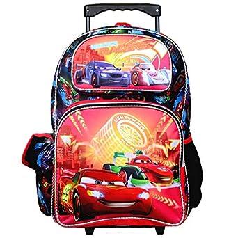 "16/"" Lightning McQueen Cars Backpack Teen Boys Large Rolling Backpack"