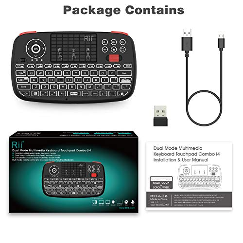 (2019 Upgrade) Rii i4 Mini Bluetooth Keyboard with Touchpad, Blacklit Portable Wireless Keyboard with 2.4G USB Dongle for Smartphones, PC, Tablet, Laptop TV Box iOS Android Windows Mac.Black