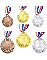 6 Pieces Gold Silver Bronze Winner Award Medals, Metal Medals Prizes with Neck Ribbon for Competitions Party Olympic Style, 2 Sizes,2.55/1.96 Inches