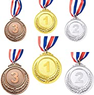 6 Pieces Gold Silver Bronze Winner Award Medals, Metal Medals Prizes with Neck Ribbon for Competitions Party O