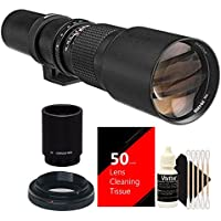 Bower 500mm / 1000mm f/8 Telephoto Lens for Nikon D750 D700 D610 + 2X Converter