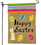 Easter Garden Flag 12×18 Easter Eggs with Bunny Burlap Design – Garden Flags Easter – Home Garden Flag