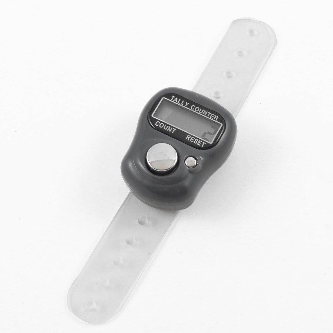 uxcell 小型 デジタルカウンター 電子カウンター 数取器 計数器 指用 数取り器 ポータブルカウンター プラスチックバンド グレーケース