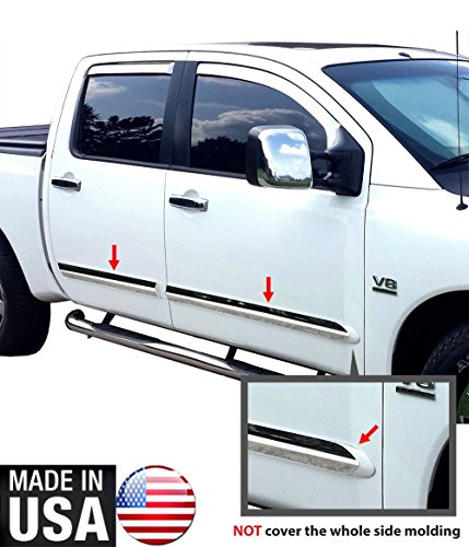 Made in USA! Works with 04-2015 Nissan Titan Crew Cab Rocker Panel Chrome Stainless Steel Body Side Moulding Molding Trim Cover 3
