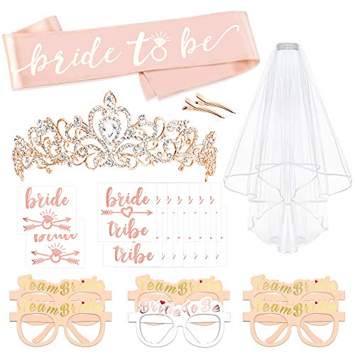 Rose Gold Bachelorette Party Decorations Kit, Konsait Bridal Shower Favor Supplies Gift Hen Party Bachelorette Accessories| Metal Rhinestone Tiara | Bride to Be Sash | Veil | Metallic Team Bride Flash Tattoos