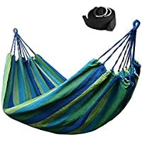 Lovemoo® Double Canvas Travel Hammock / Outdoor Bed 98.5*59 Inches 400lbs, Rainbow Colour + 2 Hammock Tree Straps (Blue)