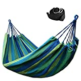 Double Canvas Travel Hammock / Outdoor Bed 98.5*59 Inches 400lbs, + 2 Hammock Tree Straps Rainbow Color (Blue)