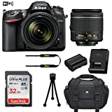Nikon D7200 DSLR Camera (Wi-Fi) with Nikon AF-P DX 18-55mm f/3.5-5.6G VR Lens + 32GB Memory Card + Camera Carrying Bag + Tripod (Certified Refurbished)
