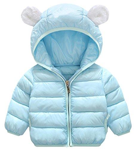 - Happy Cherry Baby Down Cotton Jacket Winter Windproof Hooded Coat Warm Kids Outerwear Lightweight Light Blue Size 110cm