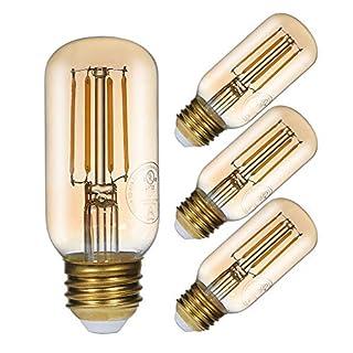 GMY LED Light Bulb T12 Dimmable Vintage Amber Led Edison Tubular Bulb, 4.5W Equivalent to 40W, 2200K Warm White, E26 Medium Base Filament Light Bulbs, 120V/270LM, 4Pack