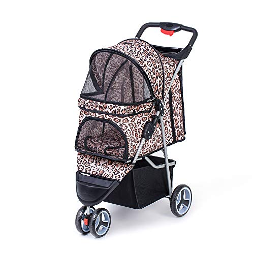 comiga Pet Stroller, 3-Wheel Cat Stroller, Foldable Dog Stroller with Removable Liner and Storage Basket, for Small-Medium Pet,Leopard from comiga