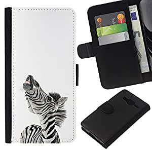 KLONGSHOP // Tirón de la caja Cartera de cuero con ranuras para tarjetas - Zebra Sonreír divertido - Samsung Galaxy Core Prime //