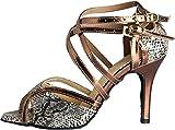 Abby Q-6132 Womens Latin Tango Cha-cha Salsa Party Shoes Ballroom Dance Custom Heel Grey US Size7.5