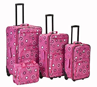 Rockland Luggage Brown Leaf 4 Piece Luggage Set, Pink Pearl, One Size