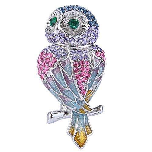 Enamel Bird Pin (EVER FAITH Women's Austrian Crystal Enamel Adorable Owl Bird Brooch Pin Multicolor Silver-Tone )