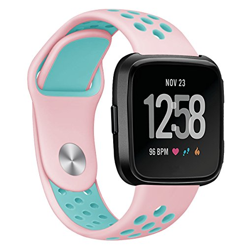 Antemart for Fitbit Versa Bands, Replacement Silicone Sport Band Bracelet Strap with Ventilation Holes for 2018 Fitbit Versa Smart Watch,Design...