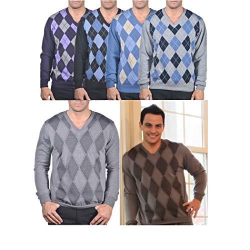 Enzo Mantovani - Argyle Italian Made Men's Fine Gauge Merino V-Neck Sweater (Small, Argyle - Violet - - Sweater Argyle Merino Wool