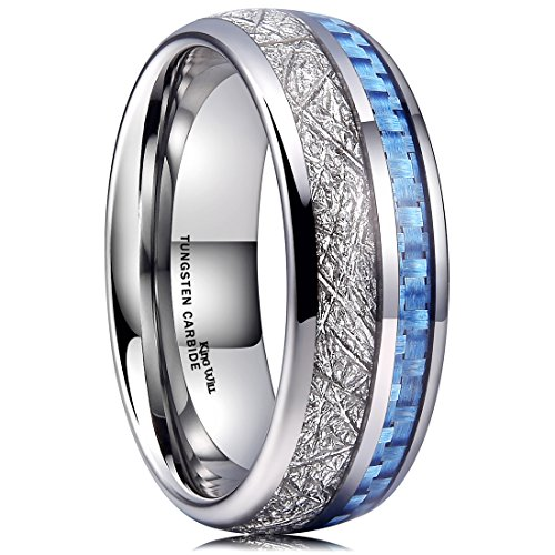King Will Meteor 8mm Mens Tungsten Carbide Wedding Ring Imitated Meteorite Blue Carbon Fiber Inlay Comfort Fit(13) ()