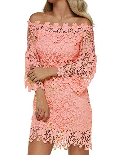 Auxo Women Off The Shoulder Floral Lace Long Sleeve Vintage Cocktail Party Dress Light Pink 2XL
