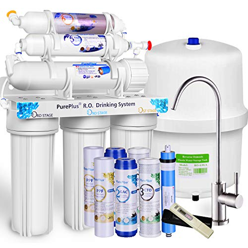 PUREPLUS 6-stage Reverse Osmosis Water Filtration System with Alkaline, 80 GPD Under Sink RO Filter Drinking Systems,Plus NSF 58 certified LG Original Membrane-1-year FDA Certified Filters