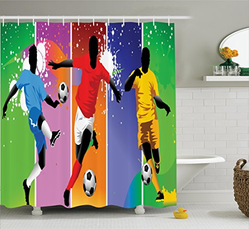 Ambesonne Sports Decor Shower Curtain Set, Soccer Design Elements with Four Player in Different Field Positions League Men Modern Graphic, Bathroom Accessories, 75 inches Long, Multi by Ambesonne