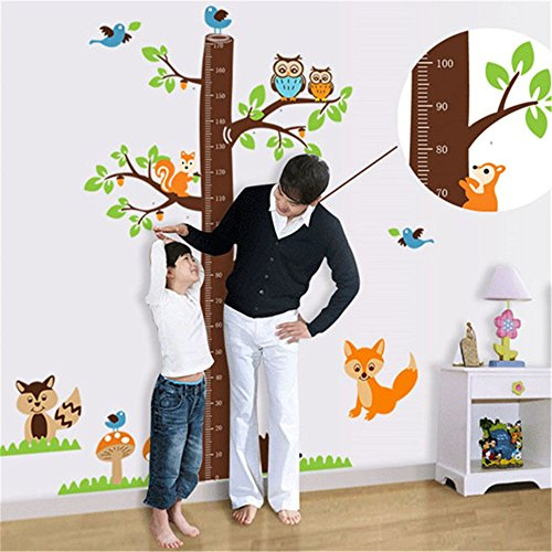 GTNINE Animals Pattern Child Height Wall Chart Vinyl Wall Decals Removable Wall Stickers for Children Kid Bedroom Wall Decor