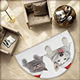 Christmas Semicircular Cushion Cute Dog and Cat in Santa Red Hats Funny Puppy and Kitty Domestic Pet Animal Entry Door Mat H 74.8'' xD 112.2'' White Grey Red